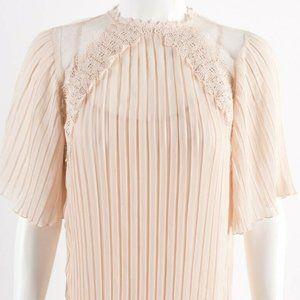 Zara Women Pleated Guipure Dress XS Pink Mini Lace